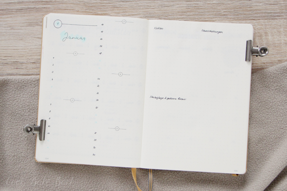 Bullet Journal Monatsübersicht Layout Januar