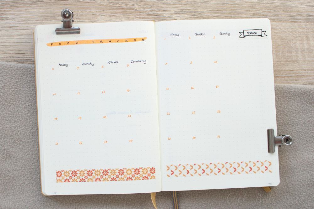 Bullet Journal Food Tracker Layout