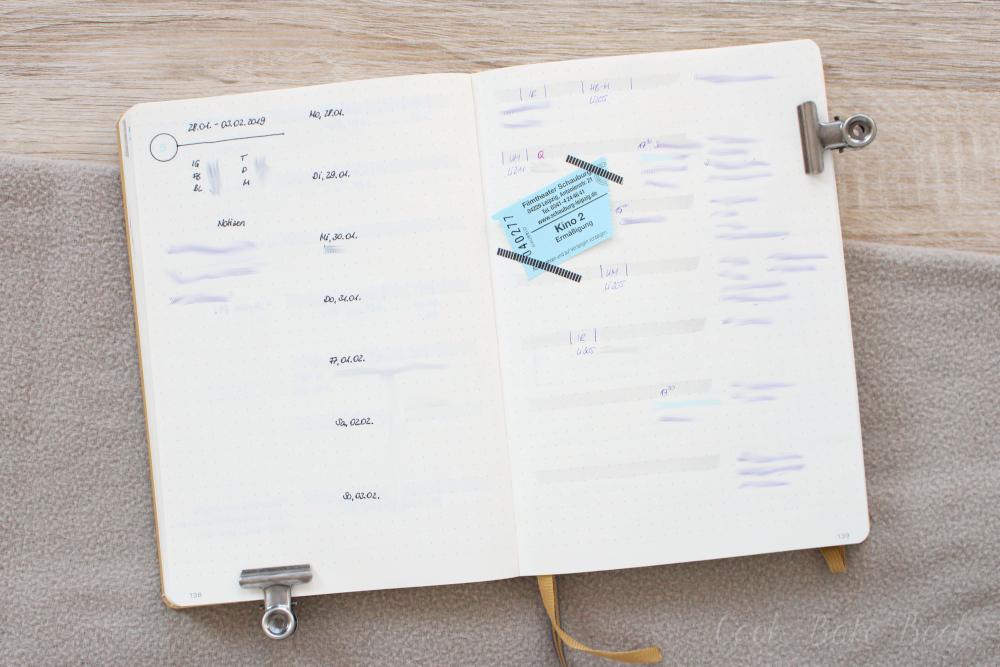 Bullet Journal Wochenübersicht minimalistisch
