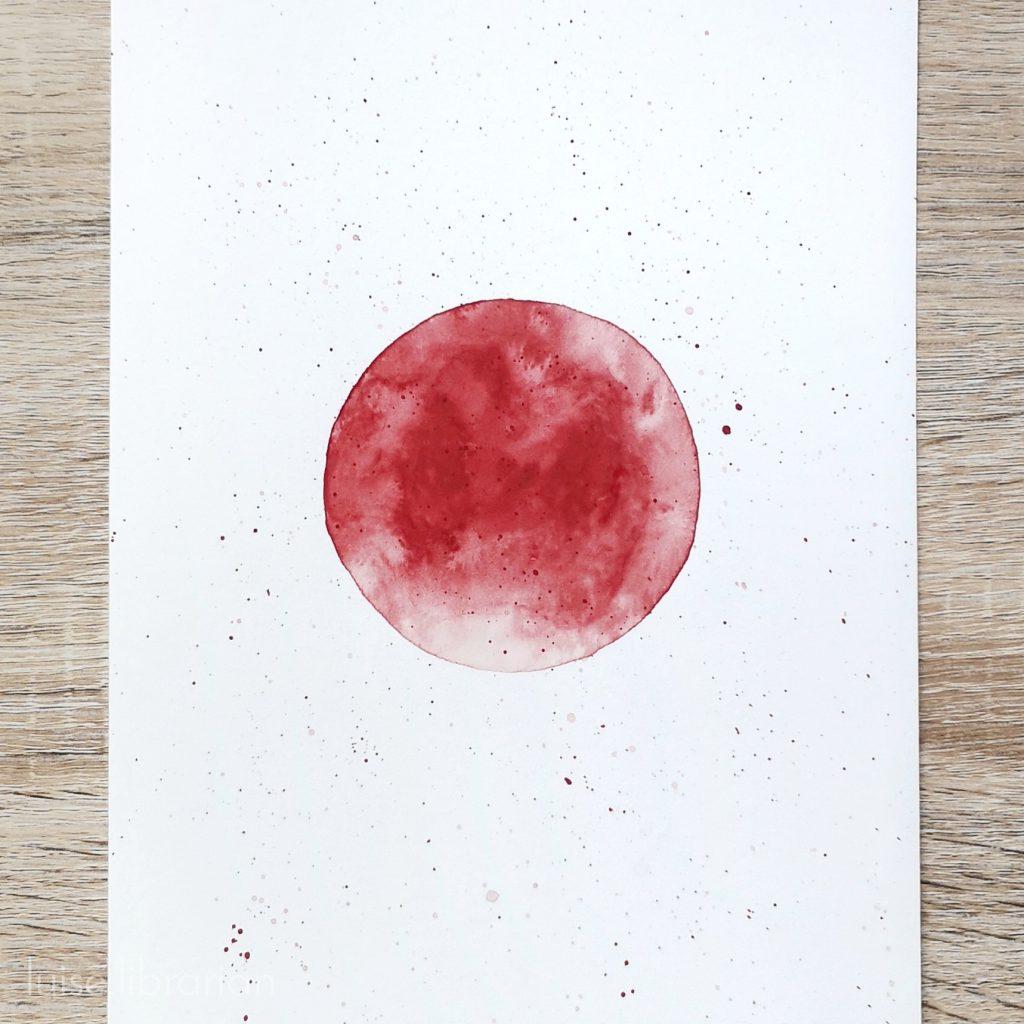 Aquarellmond Oktober rot