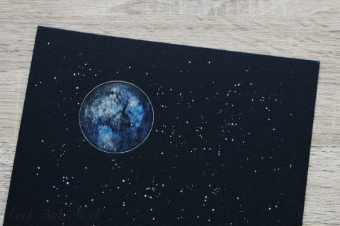 Aquarellmond Januar weiß blau auf schwarz