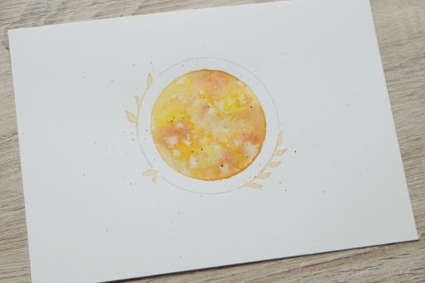 Aquarellmond März orange