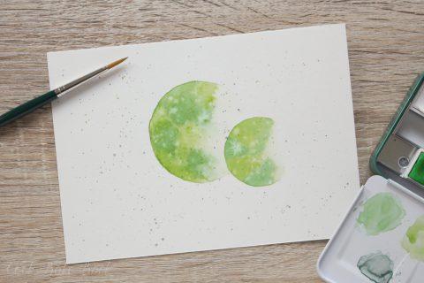 Aquarellmond Mai grün