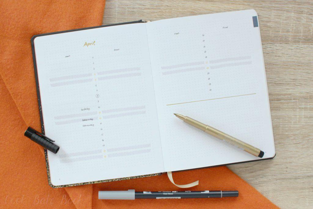 Bullet Journal Future Log April 2020